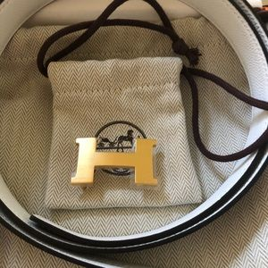 Hermès 24MM white/taupe belt and gold buckle 95cm